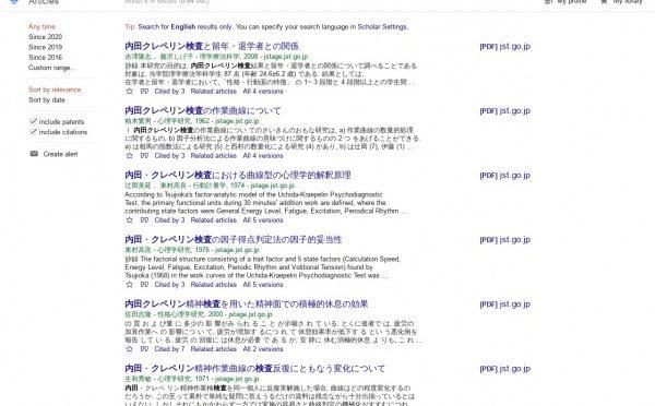 内田クレペリン検査に関する学術記事を検索するには